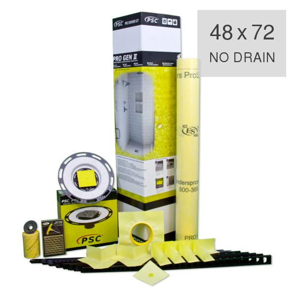 PSC Pro Gen II 48 x 72 Custom Tile Mud Shower Kit - NO DRAIN by Pro-Source Center